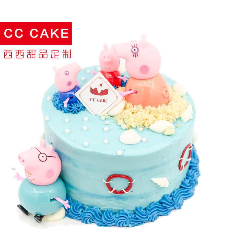 【cc cake】小猪佩奇儿童奶油生日蛋糕